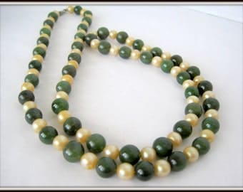Jade Nephrite and Pearl Necklace - Long Flapper Style - 60's Beads