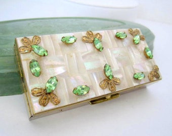 Vintage Weisner of Miami signed Green Jeweled Lucite Cigarette Case
