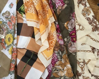 Collection of Ten Vintage Retro Scarves