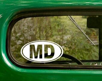 Maryland Sticker, 2 Decals, Maryland Decal, MD Sticker, Laptop Sticker, Oval Sticker, Car Decal, Bumper, Vinyl Decal, Car Sticker