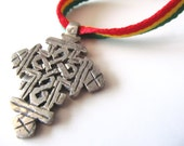Ethiopian Cross Necklace - Rasta Jewelry - Rastafari Cross Necklace - Red Gold and Green Necklace - Rasta Pendant - Ethiopian Orthodox Cross
