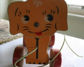 Vintage Wooden Pull Toy Dog 1940s Pull Toy