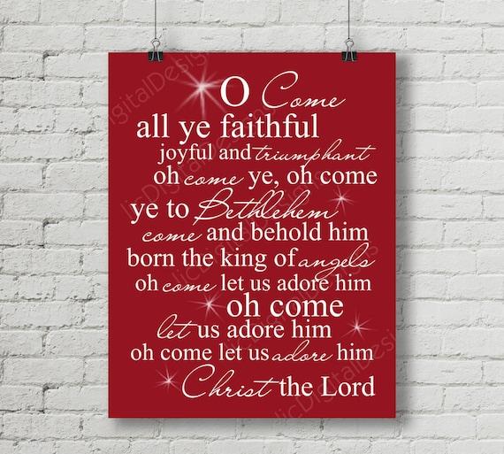 50% OFF SALE O Come All Ye Faithful Christmas Carol Word Art
