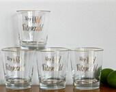 Vintage Whiskey Glasses Fitzgerald Very Old Whiskey Bourbon Gold Metallic Bar Glasses
