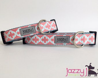Coral and Aqua Blue Nautical Bristol Tile Dog Collar