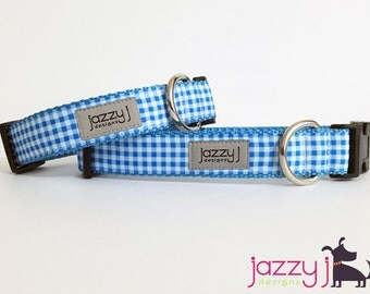 Bright Blue and White Gingham Plaid Dog Collar