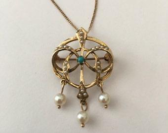 Victorian Art Nouveau 14K Gold Turquoise Pearl Lavalier Brooch Pendant