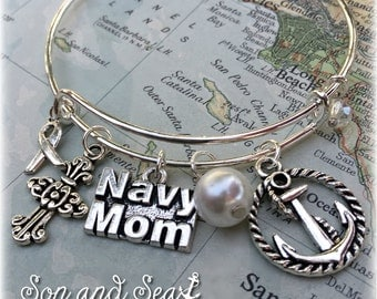 US Navy Mom adjustable bangle charm bracelet by Son and Sea FREE US shipping