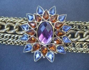Crystal Starburst Medallion Gilt Chain Bracelet