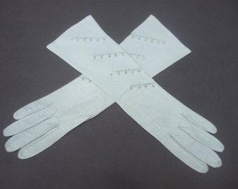 Elegant Pale Blue Pearl Beaded Gloves c 1960