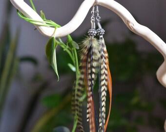 Bohemian Grizzly Feather Earrings - Long Feather Earrings