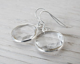 Clear Quartz & Silver Earrings - Sterling Silver