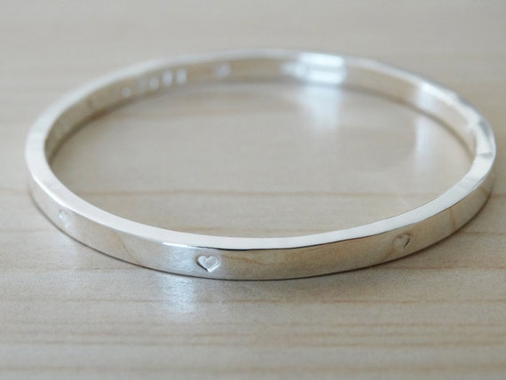 Silver Bangle With Tiny Hearts For Baby Or Child - Sterling Silver