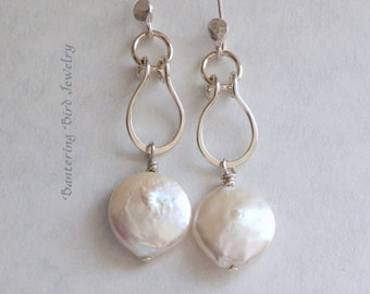 White Coin Pearl Dangle Earrings, Unique Sterling Silver Hoop with Freshwater Pearl, Long Pearl Earrings