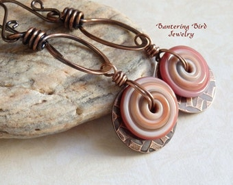 Caramel Brown Glass Spiral Earrings, Lampwork Disk Earrings, Hammered Copper Disks on Hoop Earrings, Artisan Copper Jewelry