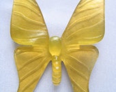 Huge Golden Yellow Butterfly Brooch of Translucent Plastic or Resin.  VERY Artsy.  Statement Piece.  Lightweight.