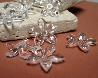 Vintage 18mm Star Jasmine Plastic Flower in Crystal.  2 dz.