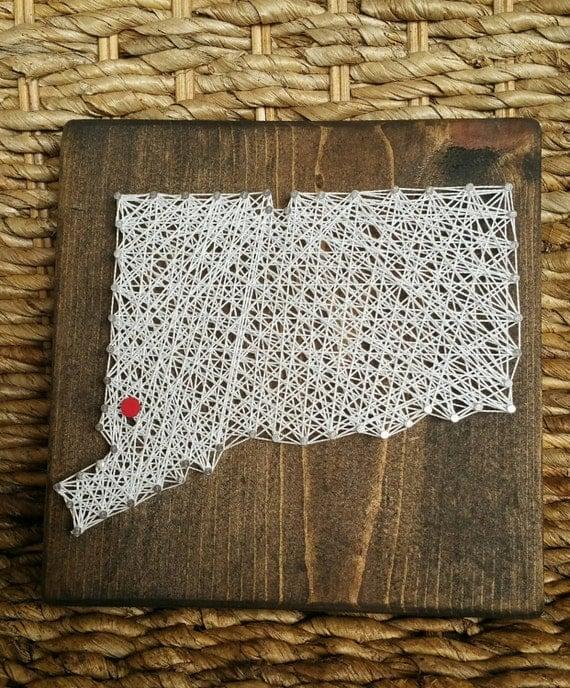 custom order mini state string art sign hometown and state. Black Bedroom Furniture Sets. Home Design Ideas