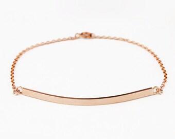 Solid 14k Rose Gold Bar Bracelet - Rose Gold ID Bracelet - Engraved Personalized Bracelet - Simple Bar Bracelet