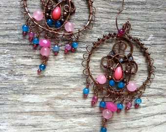 Arabic Copper Earrings  Wire Wrapped Bohemian Copper Earrings -  Boho Tribal Earrings - Blue Pink Stones Gypsy Earrings Filigree hoops