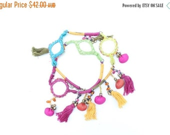 10,000 LIKES 7 Day Sale RAINBOW MIRROR Indian Pom Pom + Tassle Ornate Woven Choker Necklace - Wear 2 Ways!