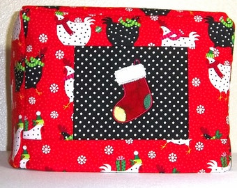 Christmas Chickens Toaster Cover, Christmas Stocking Toaster Cover, Two Slice Christmas Toaster Cover