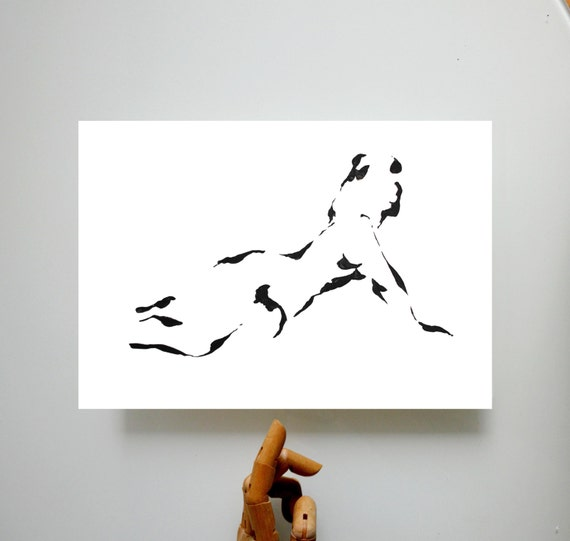 Nude Fine Art Ink Print from the original drawing - Pose nude art ink print glicee original modern minimal black and white modern