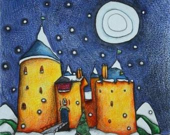 Castell Coch Cardiff Christmas card Cymru Wales Made in Wales
