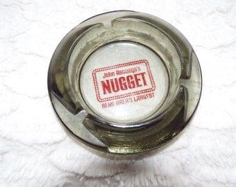 "Vintage ""John Ascuaga's Nugget"" Reno Nevada Ashtray Dark Glass #BIN4010 (30.00+ coupon TOYOU4FREE  For free shipping!)"