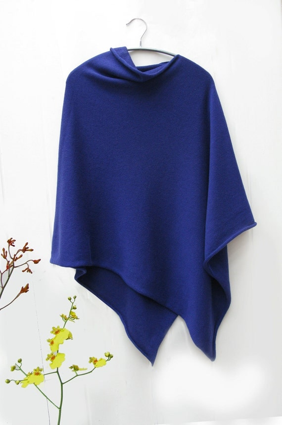 Sapphire blue 4ply pure cashmere poncho