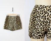 vintage 60s faux leopard fur shorts / 1960s leopard hot pants / high waisted leopard shorts / fuzzy leopard shorts / Hot Pursuit shorts