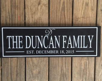 Personalized family sign. Family established sign. Custom family sign. Family board. Established.