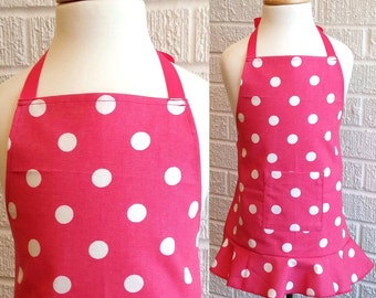 Toddler Hot Pink Dot Apron with Pocket - FREE Shipping, American Made