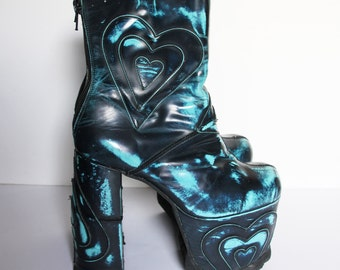 Sale ! Luichiny vintage platform shoes boots 80s 90s does 70s wedges club cyber rave party patchwork heart turquoise chunky high heels