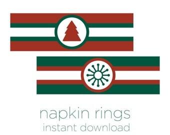 Printable Napkin Rings - Christmas Napkin Rings - Christmas Printable - Red and Green