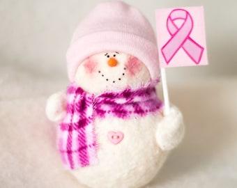 Breast Cancer Awareness Snowman Ornament