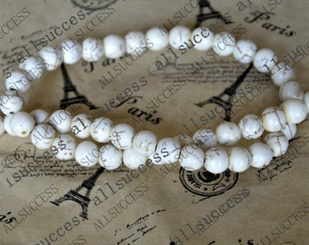 15inch 8mm Single white round tuquoise beads,gemstone cham,turquoise charm,turquoise stone loose strand