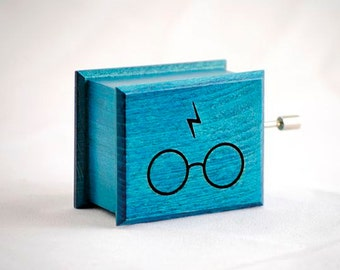 Glasses and scars lightning Harry Potter music box turquoise - soundtrack and design inspired handmade wooden music box