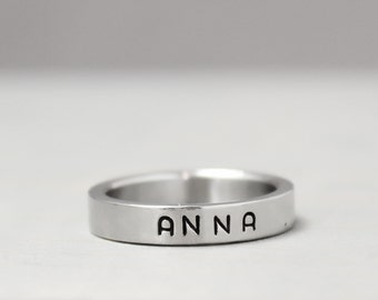 Name Ring, Stainless Name Ring, Stainless Steel Ring, Stainless Ring,  Custom Name Ring, Handstamped Ring, Hand Stamped