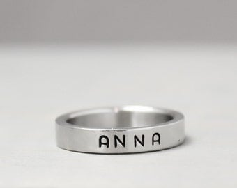 Name Ring, Stainless Steel Name Ring, Custom Name Hand Stamped Jewelry, Personalized Jewelry, Hand Stamped Ring, Custom Ring, Ring With Name