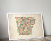 Arkansas by County - Typography Print