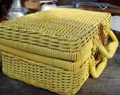 Basket, Yellow Decor, Boho, Wicker Basket, Suitcase Basket, Yellow Basket, Toy Storage, Pretend Play, Painted Basket, Shabby, Cottage Chic