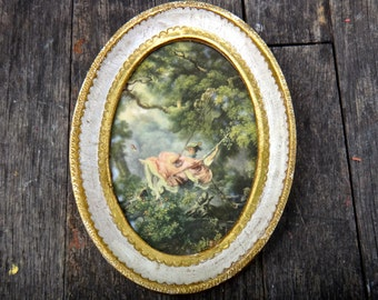 Oval Frame, Florentine, Gold Frame, Italy, Lady in Pink Bonnet on Swing, Framed Art, Lady on Swing, White Frame, Classic Art, Victorian Art