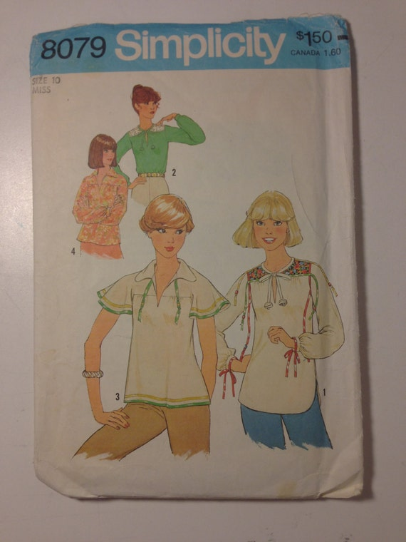 Simplicity Sewing Pattern 8079 Misses Pullover Tops Size 10 70s