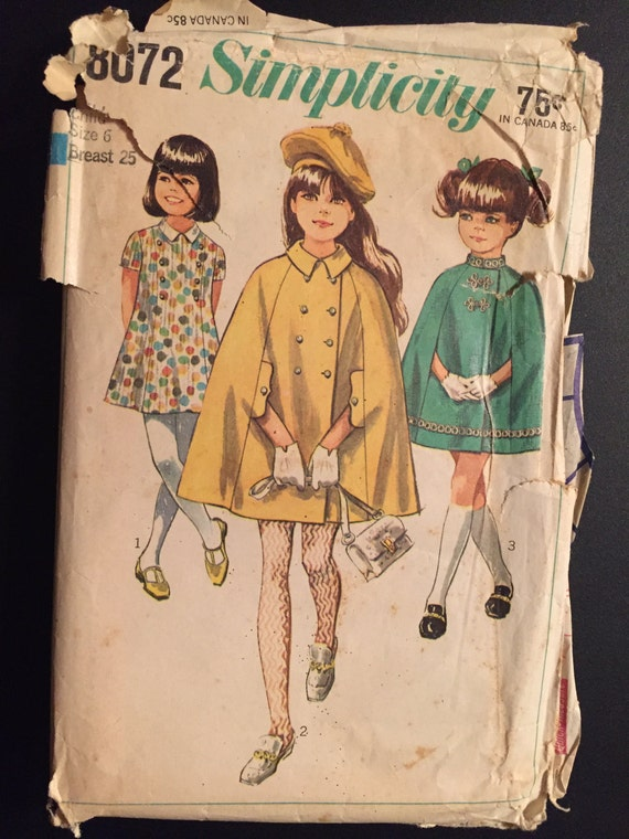Simplicity Sewing Pattern 60s 8072 Girl's Cape and Dress Size 6