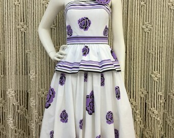 Early 1980's Victor Costa Parisian purple floral cotton maxi dress