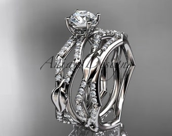 platinum diamond leaf and vine wedding ring, engagement set ADLR353S
