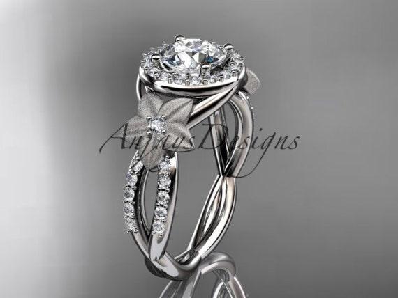 platinum diamond leaf and vine wedding ring,engagement ring,wedding band ADLR127