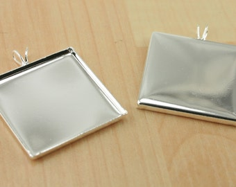 24 DIY Kit - 1 in THIN Square Pendant Trays (24) and Optional Matching Glass Tiles (24), Craft Seals Kit. Shiny Silver Plated BRASS Settings
