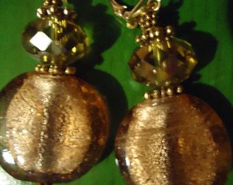 Boho Chic Gold Glass Rounds in Grandeur Earrings